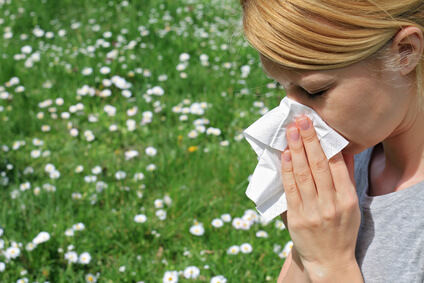 A girl suffering from seasonal allergy